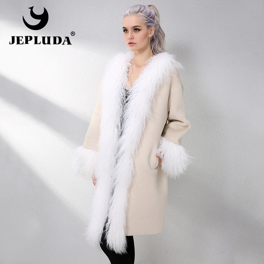 JELUDA Fashion Cashmere Coat Women Scarf Collar With Natural Real Mongolia Sheep Fur Real Fur Coat Genuine Leather Jacket Women