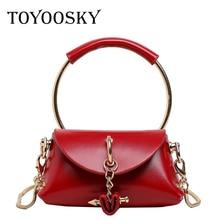TOYOOSKY Fashion Bag Ring Handle Messenger Women Designer Luxury Handbag Mini Shoulder Female PU Leather Purse