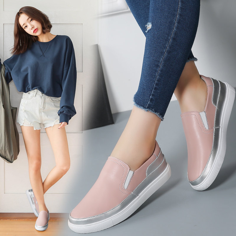 TOURSH 2018 New Spring Brand Women Sneakers Slip On Casual Flats Shoes Leather White Loafers Boat Shoes Moccasins Tenis Feminino hot 2017 new fashion womens weave shoes spring summer mixed color breathable casual shoes flats slip on loafers tenis feminino