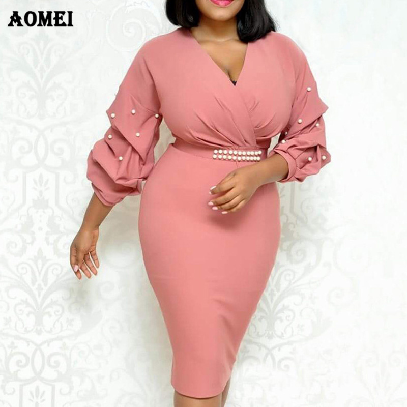 Pink White Women African Dress Tight Peplum Bead Elegant Ladies Officewear Slim Evening Party Tunics Femme Package Hip Clothing