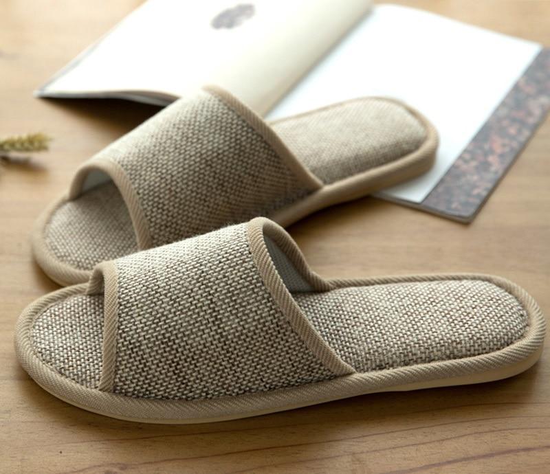 Women's/Men's Summer Indoor Soft Natural Linen Slippers
