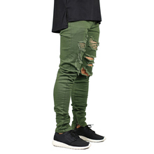 Men Skinny Jeans Fashion Stretch Zippers Style Hip Hop Army Green E5007