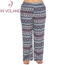 Big Size Women Trousers Bohemian Print Spring Autumn Casual Beach Loose Flat Fit Large Full Pants Plus Size XL-5XL