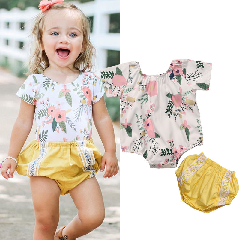 Baby Girls Romper 2017 Summer Floral Infant Baby Girls Romper Short Sleeve O-Neck Rompers Yellow Lace Cotton Kid Outfit Clothes