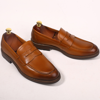 New Genuine leather Formal Suit Dress Shoes Vintage Style Fashion Driving Loafers for men