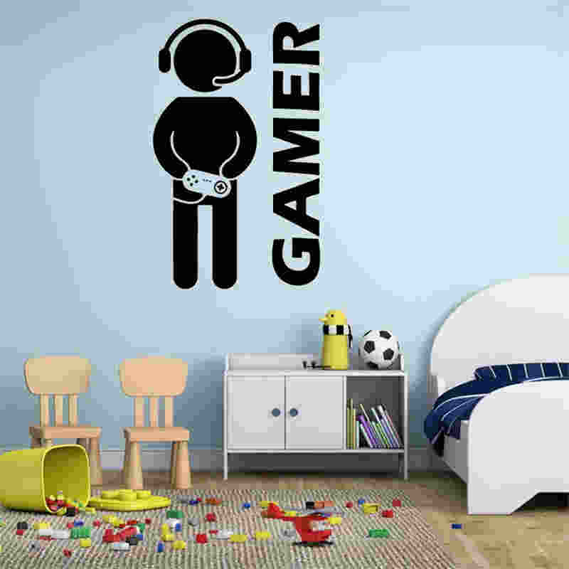 W001 Video Game Wall Sticker Gamer Joystick Wall Decal Art For Home Decor  Removable Vinyl Wall
