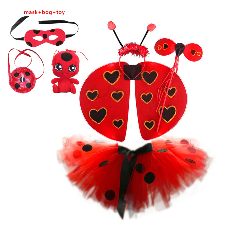 Hot sale New Moana Ladybug Girls Dress Summer Brand Girls Clothes Lace Dot Design Baby Girl Dresses Lady bug Party cosplay
