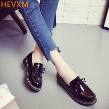 HEVXM 2017 spring Korean ladies fashion round head flat PU ordinary shoes female students British wind shoes