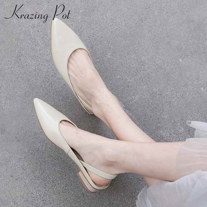 Krazing pot genuine leather 2019 vintage pointed toe elastic band low heels pumps superstar dating slingback pregnant shoes l7f8-in Women's Pumps from Shoes    1