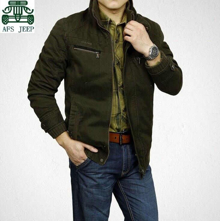 AFS JEEP Real Mans Slim Cargo 100%Cotton Jacket,Male casual New Designer 2017 Spring plus size Cotton Coats,Men's Leisure Jacket