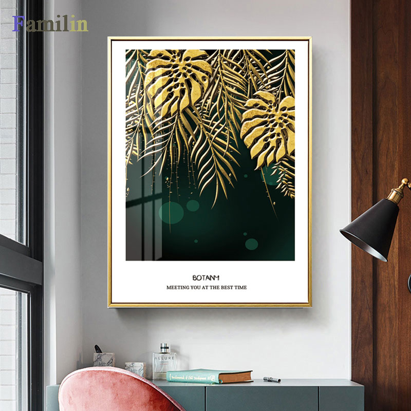 HTB1WZhuRHvpK1RjSZPiq6zmwXXaa Green And Gold Pineapple Monstera Plant Painting Large Leaf Poster Print Wall Art For Living Room Aisle Unique Modern Decoration