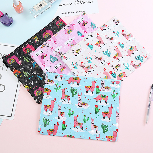 Alpaca Cactus Cartoon Printing File Bag Document Bag File Folder Stationery Filing Production School Office Supply 3