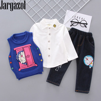 Toddler Boy Clothes Autumn White Shirt&sweater Vest&Jeans 3pcs Baby Girl Clothing Set Cartoon Cat Embroidery Kids Outfits
