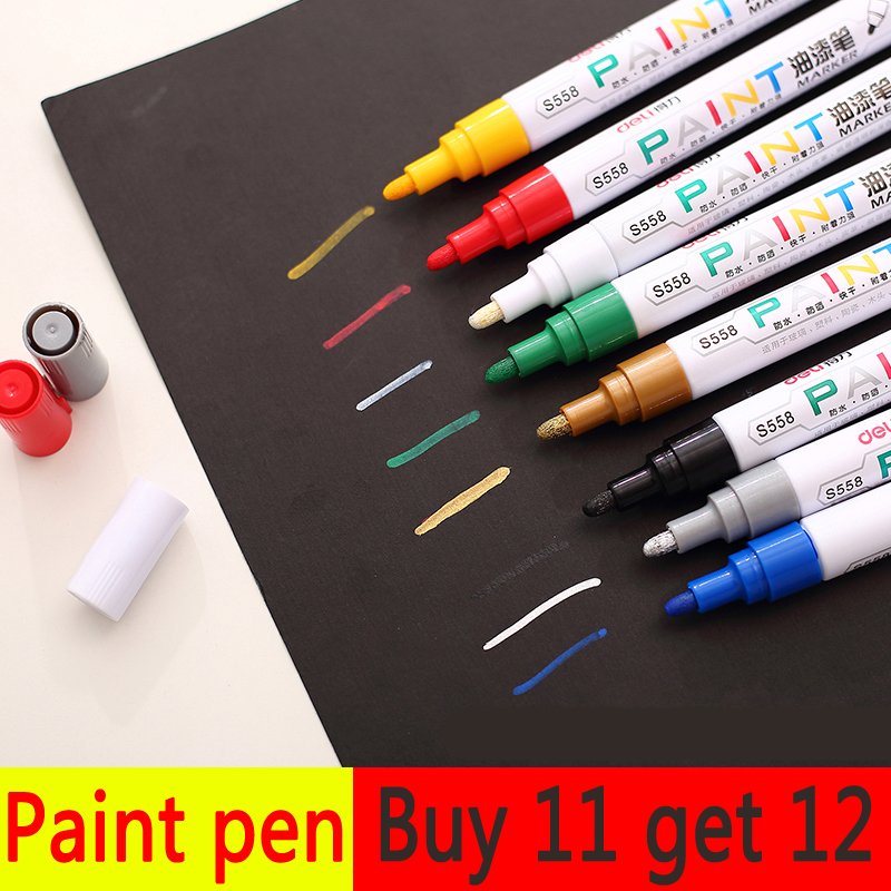 1PCS Permanent Marker Waterproof Black White Marker Pen Paint Marker for Cd for Rubber for Metal for Tires Car Paint Pen ...