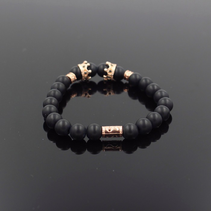 gold-imperial-crown-with-natural-matt-stone-black-bracelet-3
