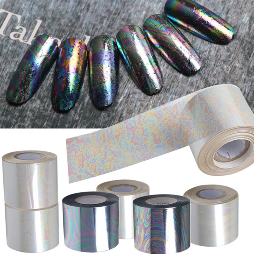 120M Length 2016 NEW Broken Glass Nail Art Transfer Foils Stickers Mirror Foil Tips Stencil Decal Nail Art Decorations Sticker 2016 new arrival 5cm 100m roll nail aurora stickers broken glass symphony paper nail glassine paper for 3d nail art decorations