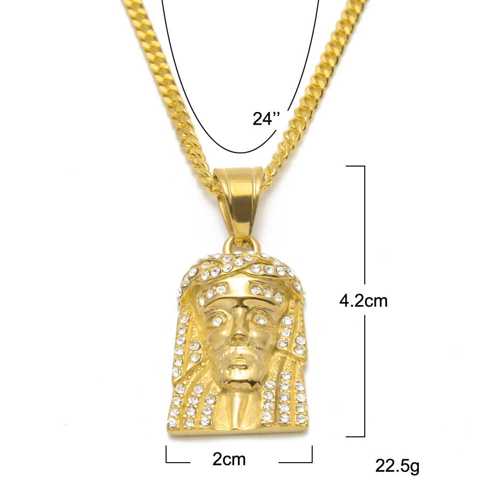 Hip hop Jesus Head Face Pendant&Necklace Stainless Steel Gold Color Trendy Christmas Gift For Men Women Jewelry Wholesale