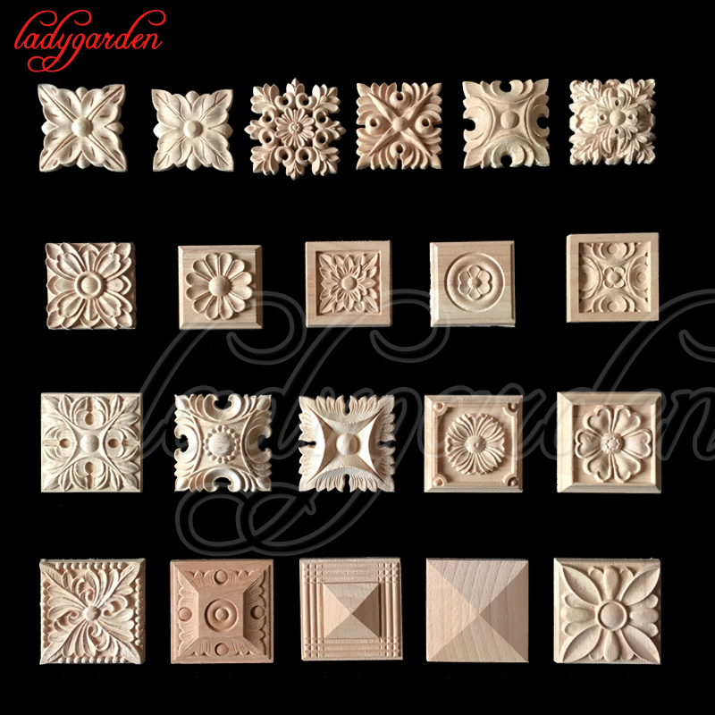 10PCS 6*6CM Vintage Unpainted Wood Carved Decal Corner Onlay Applique Frame For Home Furniture Wall Cabinet Door Decor Crafts