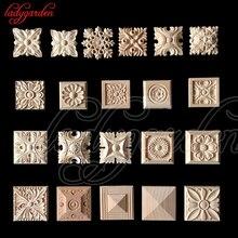 10 PCS 6*6 CM Vintage Unlackiert Holz Geschnitzte Aufkleber Ecke Onlays Applique Rahmen für Home Möbel Wand Schrank tür Dekor Handwerk