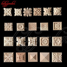 10PCS 6*6CM Vintage Unpainted Wood Carved Decal Corner Onlay Applique Frame for Home Furniture Wall Cabinet Door Decor Crafts(China)