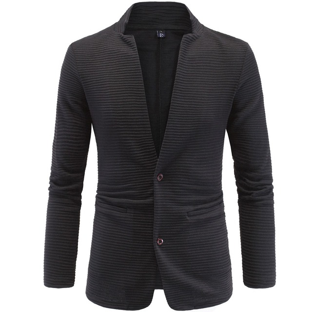 Men Blazer cardigan tunic stand collar slim blazer coat two single breasted Terno Plus Size 4XL 5XL men jacket sweatshirt Y618