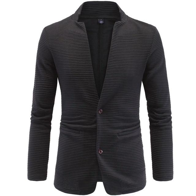 Men Blazer cardigan tunic stand collar slim blazer coat two single breasted Terno Plus Size 4XL 5XL men jacket sweatshirt Y618