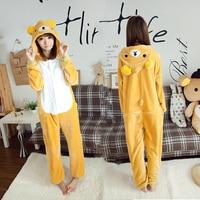 New Unisex Flannel Rilakkuma Pajama Adult Onesies Cartoon Bear Cosplay Homewear Cute Women Animal Pajamas