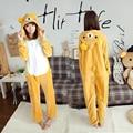 Nuevo Unisex Franela Rilakkuma Oso de Dibujos Animados Cosplay Homewear Mujeres Lindas Pijama Onesies Adultos Animales Pijamas