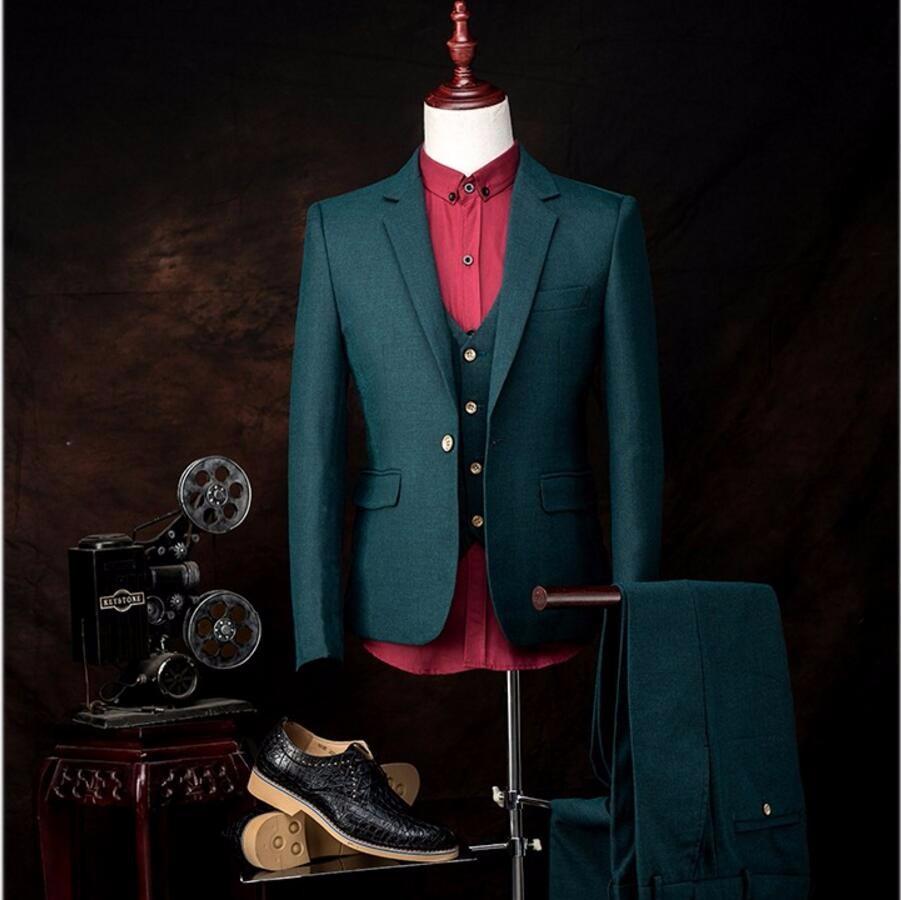 1.1 Fashion Custom Men suits jacket + pants + vest slim men\'s prom party blazer trousers groom wedding dress professional dress