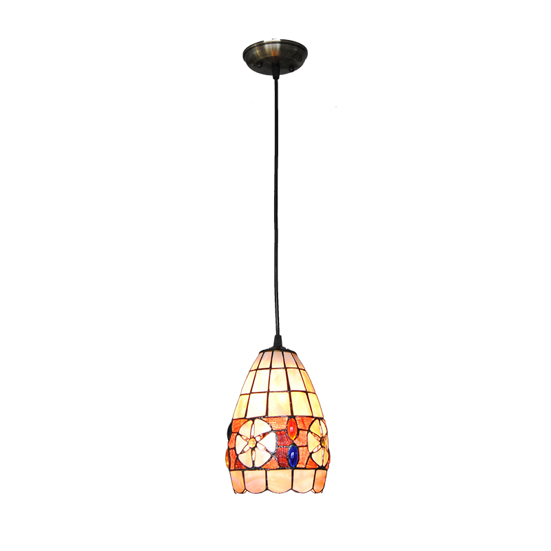 European Vintage Flowers Pattern Hanging Lamp Retro Creative Stained Shell Ceiling Lights Porch Aisle Living Room Fixtures PL753 japanese style tatami floor lamp aisle lights entrance corridor lights wood ceiling fixtures tatami wood ceiling aisle promotion