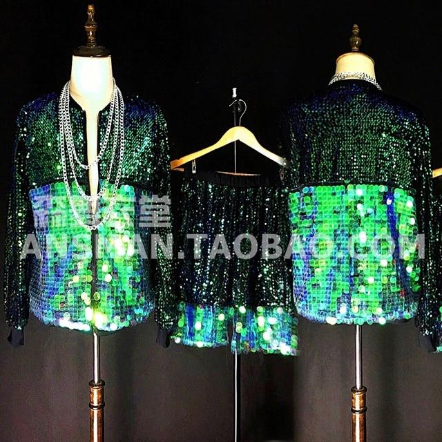 New super cool male green sequins jacket shorts costumes jazz hip hop baseball uniform set