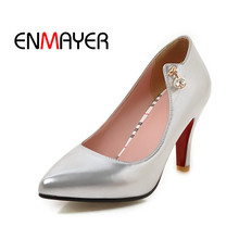 ENMAYER 2018 New Fashion Woman Pumps Slip on Casual Ladies Shoes Metal Decoration Pointed Toe Concise Female Spring Black