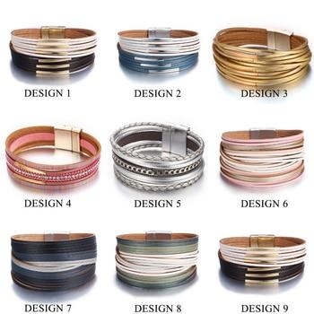 Fashion Wrap Couples Bracelet For Women Men Multiple Layers Leather Bracelets 1