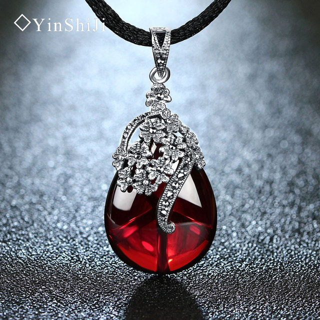 Yinshiji retro 925 silver sterling royal natural semi precious yinshiji retro 925 silver sterling royal natural semi precious stones pendant necklace jewelry for women mozeypictures Images