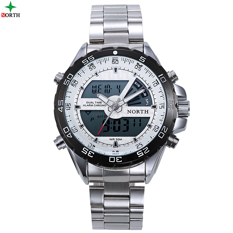NORTH Digital Display Men Sport Watch Stainless Steel Multifunction Outdoor Waterproof Quartz 2016 Fashion Male Sport Wristwatch guess sport steel w0366g4