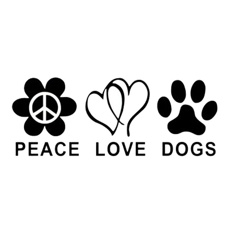 19cm7cm personalized animal peace love dogs stylish cute car window stickers c5 0875 in car stickers from automobiles motorcycles on aliexpress com