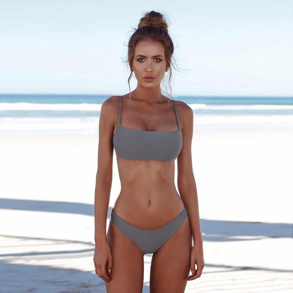 Gorąca sprzedaż Bikini kobiety Bandeau bandaż bikini Set Push-Up brazylijski strój kąpielowy stroje kąpielowe kobiety biquini Bikini 2019 costumi da bagno