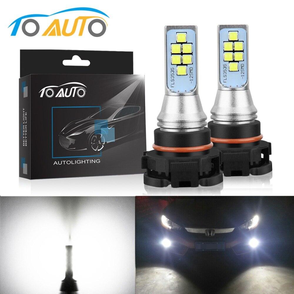 2 stücke PSX24W Led-lampen LED-Chips Auto Nebel Lampe 12 v 1400LM Auto Lichter Tagfahrlicht DRL Fahren birne Auto 6000 karat Weiß