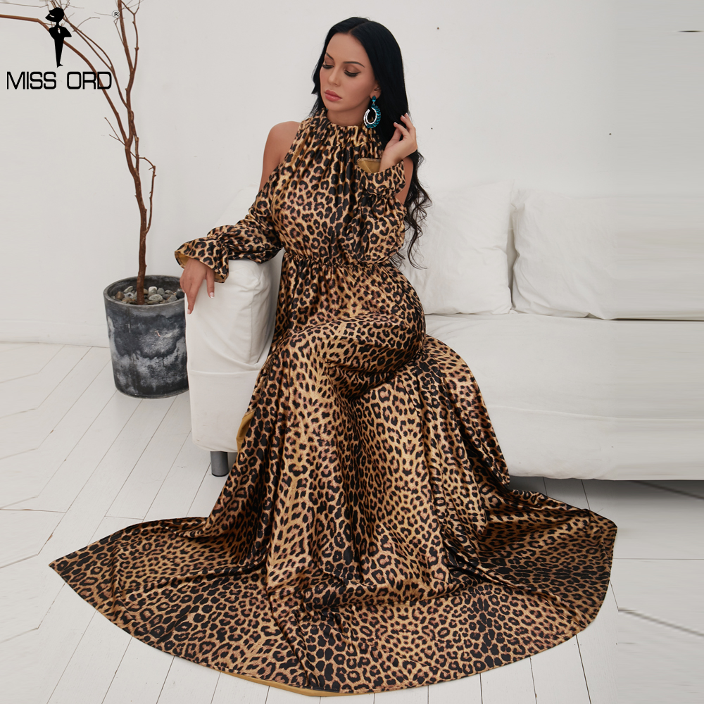 Missord 2019 Sexy High Neck Off Shoulder Long Sleeve Dresses Female Leopard  Print High Split Maxi Elegant Dress Vestdios FT9703 ec0f50e2a