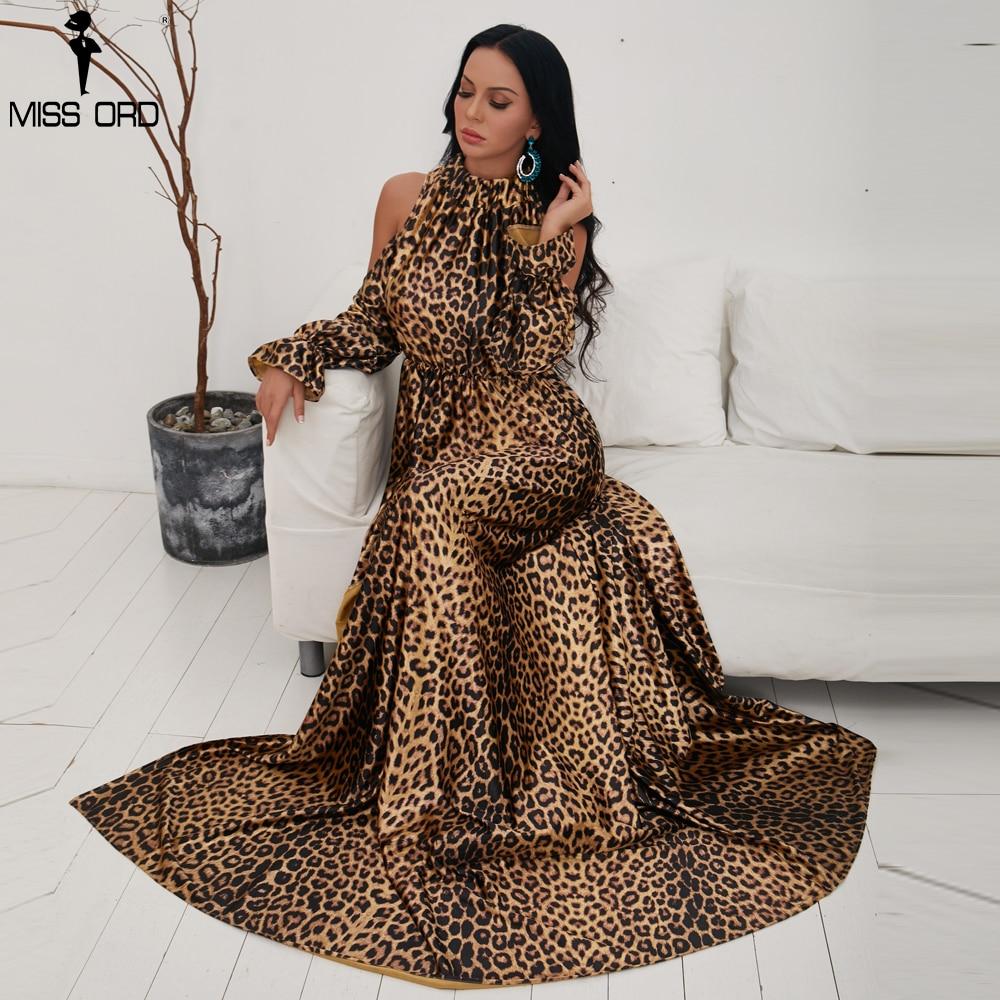 Missord 2019 Sexy col haut épaule dénudée manches longues robes femme imprimé léopard haut fendu Maxi robe élégante Vestdios FT9703