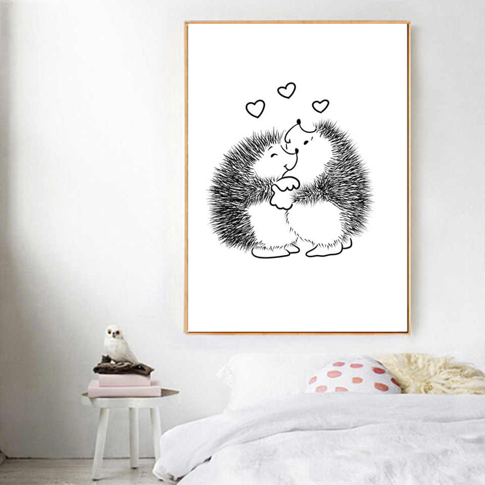 Hedgehog Cake Flower Poster Wall Art Canvas Prints Painting Nordic Black White Animals Home Decor Living Room Modular Pictures