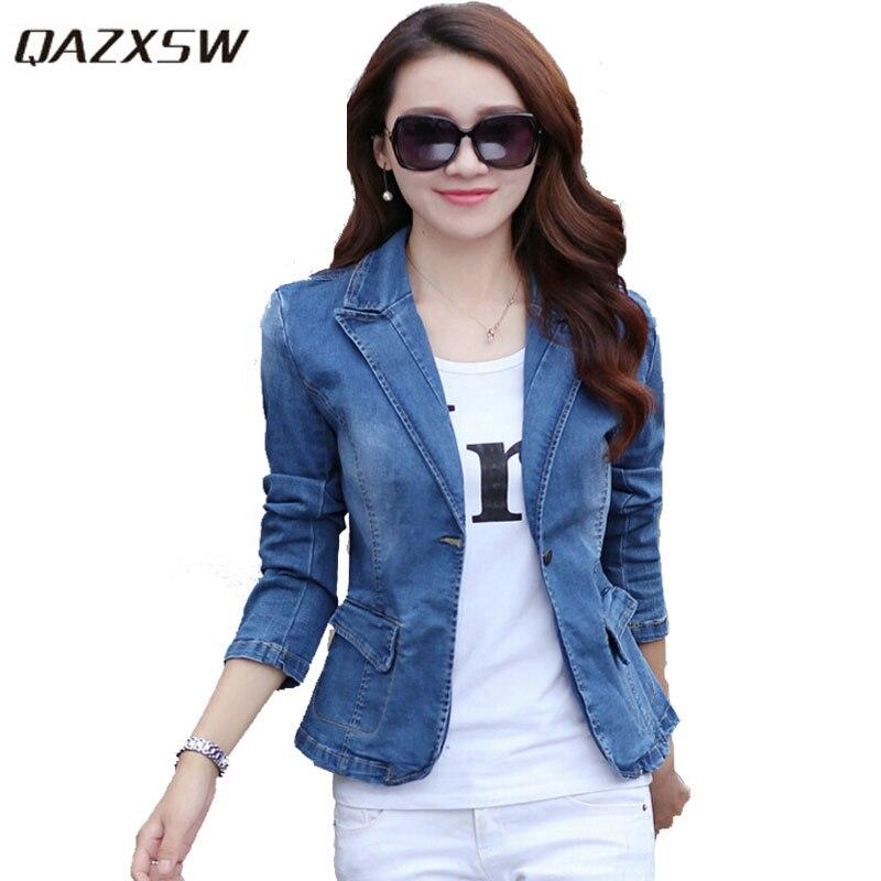 QAZXSW 2019 New Woman Jeans Blazers Slim Denim Jacket Full Sleeve Jeans Jacket Single Button Fashion Slim OL Suit Blazers YX8874