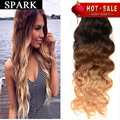 Hot Sale 7A Brazilian Virgin Hair Extension 1pc/Lot Ombre Water Natural Wave Human Hair Wigs Rosa Hair Brazilian Weave Bundles Y