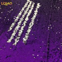 125 45CM 5mm Purple African Sparkly Embroidered Lace Mermaid Reversible Sequin Fabric For Clothes Wedding Decor