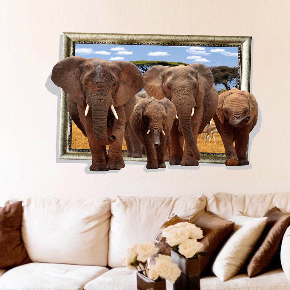 Elephant Photo Frame 3D Wall Stickers Home Decor Birthday