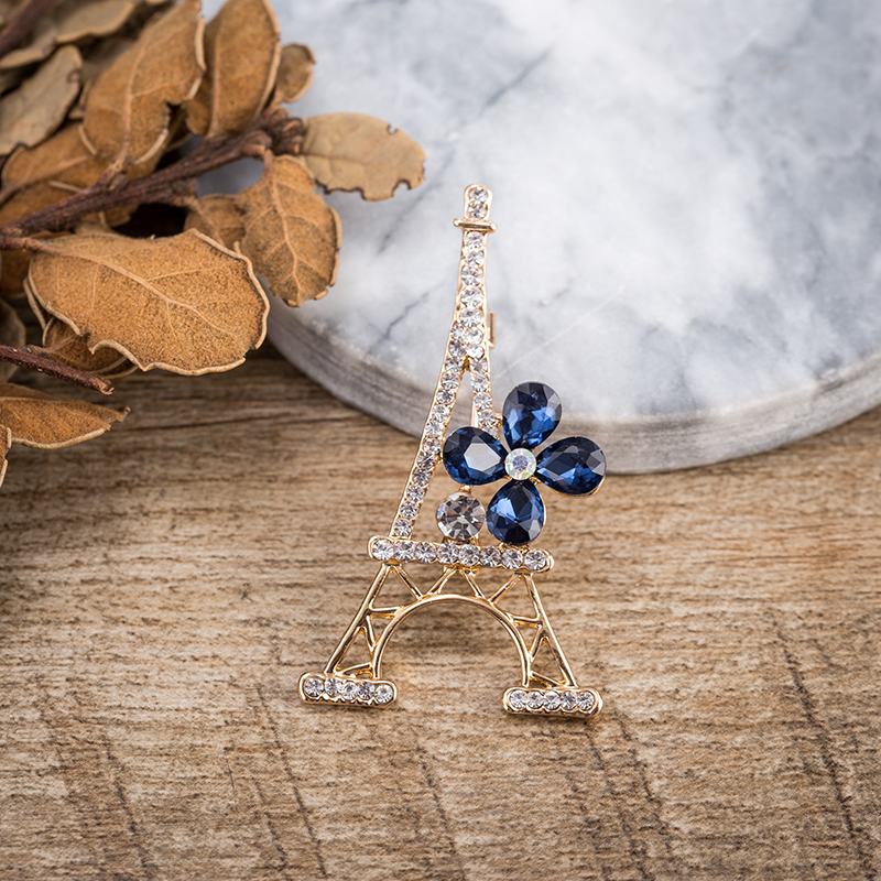 TDQUEEN New Fashion Paris Eiffel Tower Crystal Brooches For Women Jewelry Commemorative Brooches pins Gift (3)
