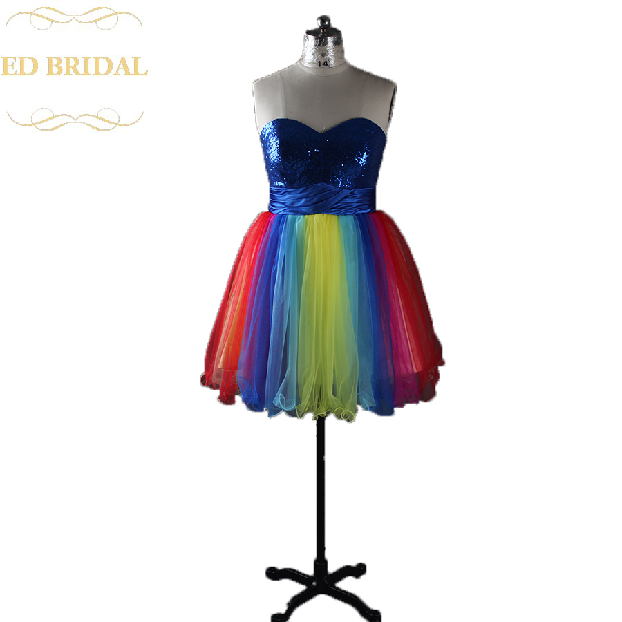 Real Sample A Line Sweetheart Colorful Multi Color Short Prom Dress Birthday Party Graduation Dress