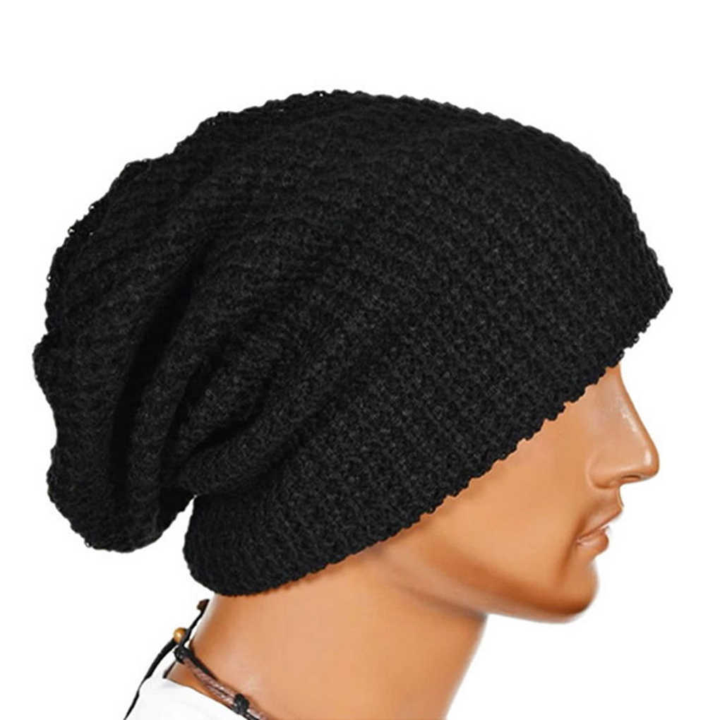 82f4794c822733 Men Knit Beanie Hat Baggy Long Slouchy Winter Warm Skull Caps Hats Black /Red/