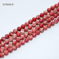 Wholesale 15 Natural Stone Gules Sea Sediment Imperial Jasper Round Loose Beads 4 6 8 10