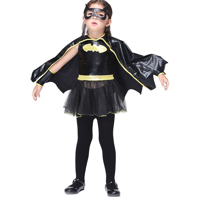 2017 Halloween Costume For Kids Batman Dress Girls Cloak Costumes Autumn  Puffy Lovely Dress Carnival Party Superhero Cosplay